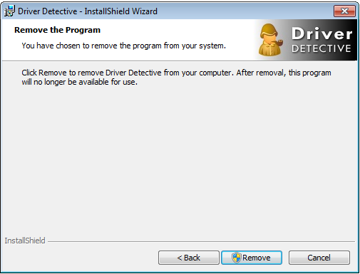 Driver Detective Uninstall Dialog